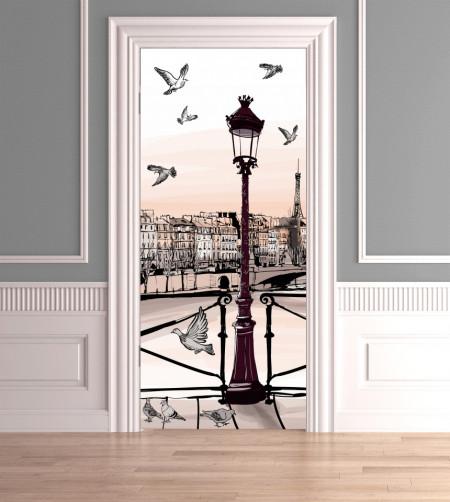 Stickere 3D pentru uși, Un dig cu păsări pe cer, 1 foaie de 80 x 200 cm