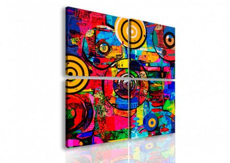 Tablou modular, Cercuri multicolore.