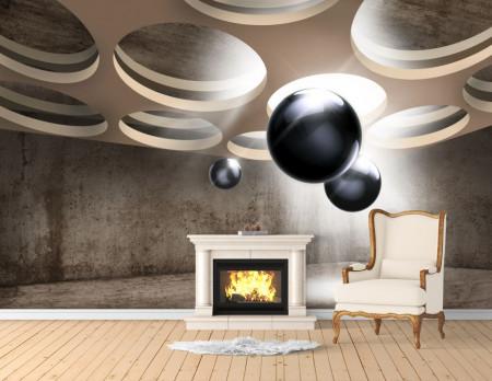 Fototapet 3D, Model abstract cu sfere 3D