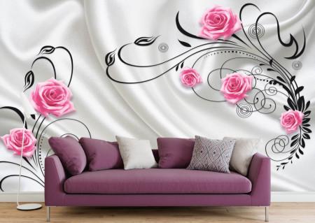 Fototapet 3D, Trandafiri roz pe un fundal alb
