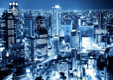 Fototapet, Orașul albastru