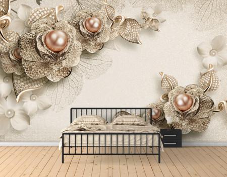 Fototapete 3D, Flori de aur cu perle pe fond deschis