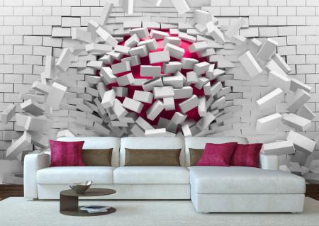 Fototapete 3D, O bilă vișinie ce sparge un perete