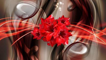Multicanvas, Flori roșii cu divorțuri pe un fundal abstract