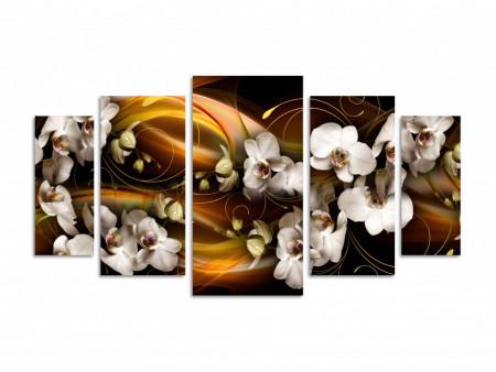 Multicanvas, Orhideea albă pe un fond abstract maro