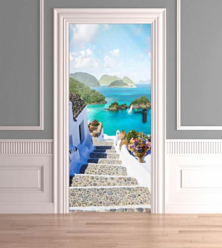 Stickere 3D pentru uși, Scări ce duc spre mare , 1 foaie de 80 x 200 cm