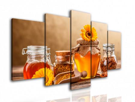 Tablou modular, Miere în borcane de sticlă
