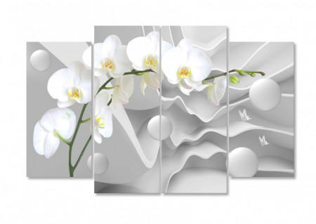 Tablou modular, Orhidee pe un fundal alb 3D.
