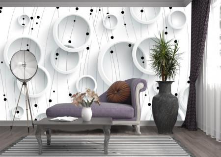 Fototapet 3D, Cercuri albe pe un fundal alb