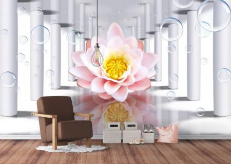 Fototapet 3D, Floare de lotus roz într-un tunel