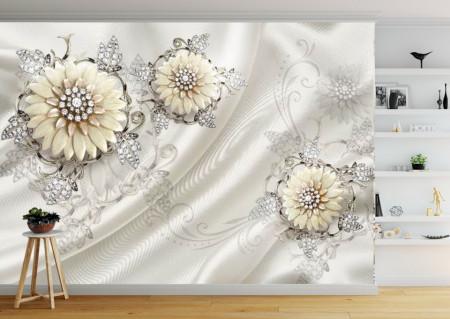 Fototapet 3D, Flori bej cu frunze de pietre prețioase pe un fundal de catifea albă
