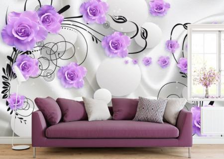 Fototapet 3D, Flori violet pe un fundal alb