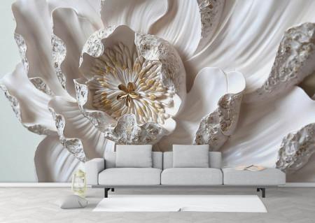 Fototapet 3D, O floare albă de nufăr