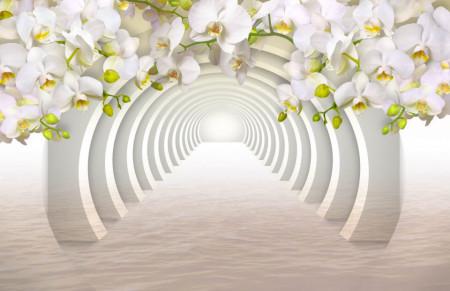 Fototapet 3D, Orhidei albe la intrarea în tunel