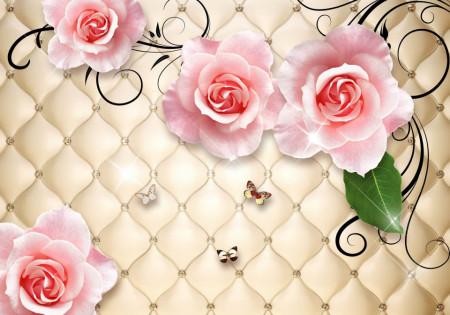 Fototapet 3D, Trandafiri roz deschis, pe un fon auriu