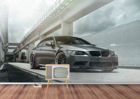Fototapet, Fotografia unei mașini negre pe fundalul unui peisaj urban