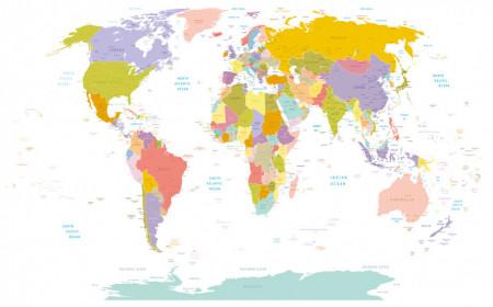 Fototapet, Harta lumii pe un fundal alb