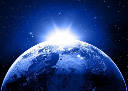 Fototapet, O planetă pe fundal albastru