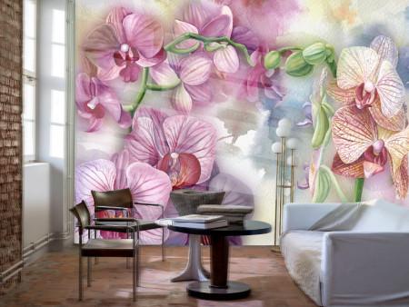 Fototapet, Orhidee roz acuarelă pe fundal delicat