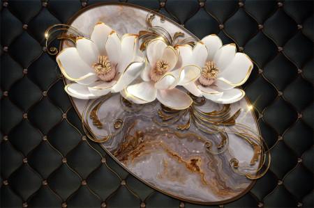 Fototapete 3D, Flori bej frumoase pe un fundal negru.