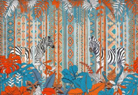 Fototapete, Roșu și albastru frunze pe un fundal de zebre
