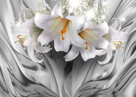 Fototapet 3D, Crini albi pe un fundal cenușiu abstract