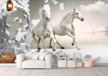 Fototapet 3D, Galopul cailor