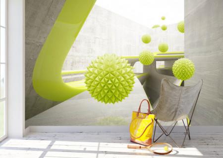 Fototapet 3D,Mingi verzi ce sfidează gravitația pe fundalul unui tunel
