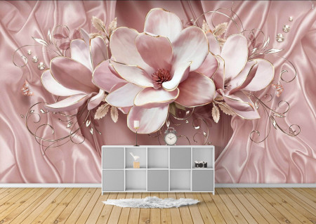 Fototapet 3D, O floare delicată roz pe un fundal subtil