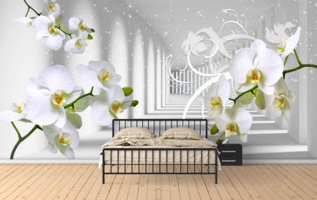 Fototapet 3D, Orhidee pe fundalul unui tunel luminos