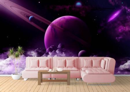 Fototapet Astronomie, Saturn în culori violete
