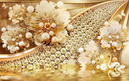 Fototapet Fantezie, Flori de aur cu pietre pe un fond auriu