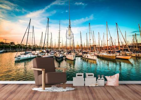 Fototapet Transport, Barci pe apă pe fundalulu apusuluide soare