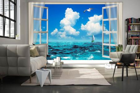 Fototapete, Deschide fereastra albă cu vedere la ocean