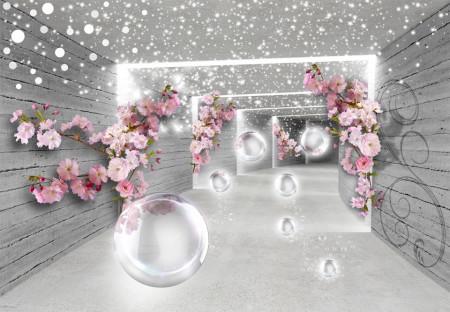 Tablou modular, Flori roz pe un fundal gri