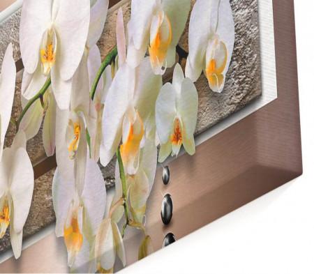 Tablou modular, Orhidee pe un fundal maro.