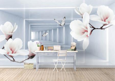 Fototapet 3D, O magnolie roz pe fundalul unui tunel