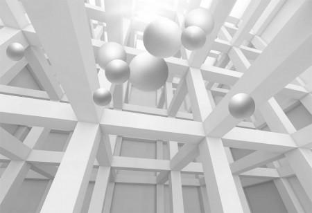 Fototapet 3D, sfere albe în spațiul 3D
