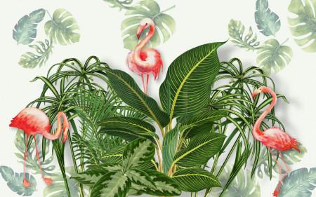 Fototapet, Fenicoturi roz în frunze verzi