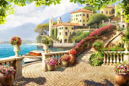 Fototapet Fresco, Peisaj cu vedere la lac de pe terasă