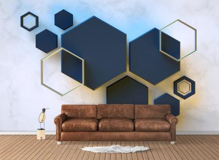 Fototapet, Hexagon albastru pe un fundal deschis