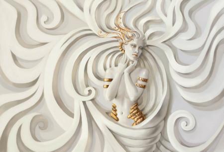 Fototapete 3D, Femeie nud cu accesorii de aur