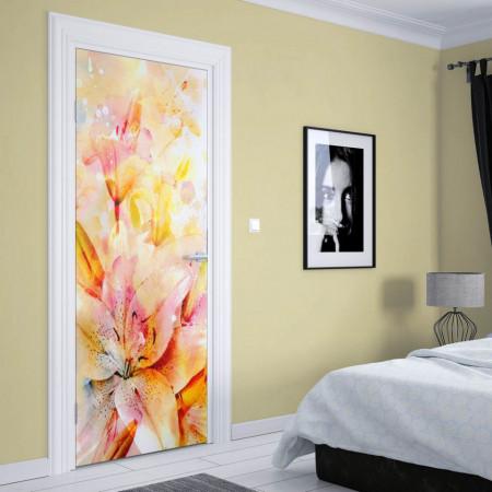 Stickere 3D pentru uși, Crini multicolori, 1 foaie de 80 x 200 cm