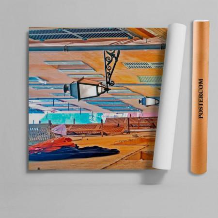 Stickere 3D pentru uși, Orașul cu clădiri galbene, 1 foaie de 80 x 200 cm