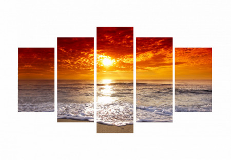Tablou modular, Apusul auriu pe plajă