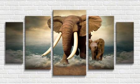 Tablou modular, Elefanți