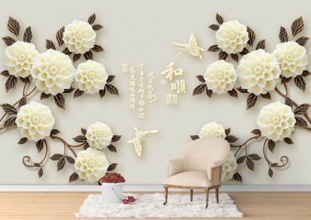 Fototapet 3D, Buchete din flori albe pe un fundal gri