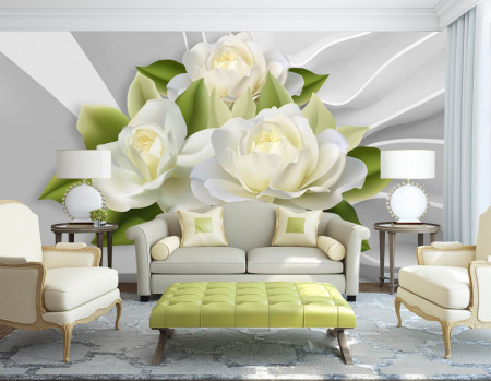 Fototapet 3D, Flori albe pe un fundal de perete