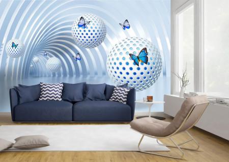 Fototapet 3D, Fluturi albaștri pe fundalul unui tunel