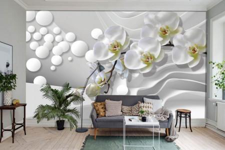 Fototapet 3D, Orhidee albă și sfere pe un perete abstract